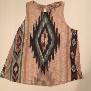 🍂 Aztec Boho 🍂 Amazing Teal and Brown Tank Top L